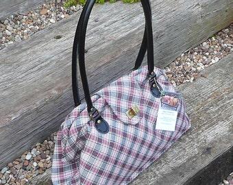 Shoulder bag, Purse, Handbag, Carpet Bag,Tartan Plaid bag, Handbag, Purse, pink and black plaid check tartan bag