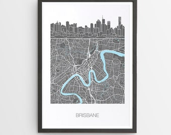 Brisbane City Skyline Map Print / Queensland / Skyline illustration / City Print / Australian Maps / Giclee Print / Poster