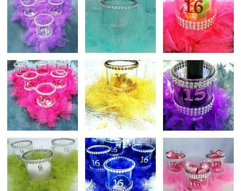 Sweet 16 party decorations, Sweet 16 gift,  Sweet 16 party favors, Sweet 16 centerpiece, Sweet 16 candle holder,  Sweet 16 candy vase