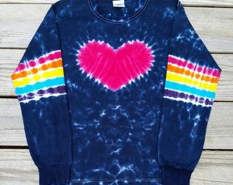 Girls Rainbow Heart Tie Dye Tshirt, Rainbow Heart Tie Dye Shirt, Long Sleeve Tie Dye, S M L XL,  Kids Tie Dye Tshirt