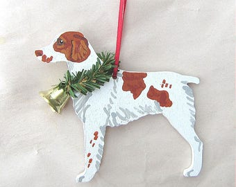 Hand-Painted BRITTANY SPANIEL Orange/White Wood Christmas Ornament...Artist Original, Christmas Tree Ornament Decoration