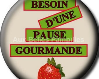 "Round cabochon resin 25 mm - ""gourmet"" stick (1003) - strawberry, text, Word, gift, gift."