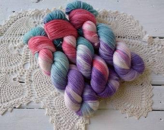 ARIEL Little Mermaid Sparkle Stellina Sock Fingering Weight Hand Dyed Yarn!