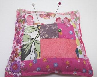 Flower and Butterflies Pink Patchwork Pincushion