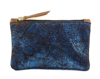 Leather Zip Wallet (blue metallic OR green metallic)