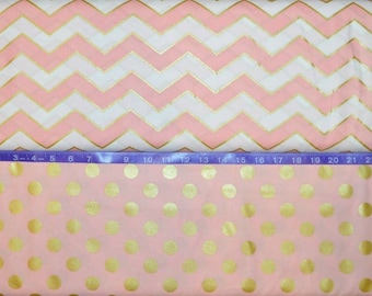 Michael Miller Glitz Pearlized Chevron and Pearlized Quarter Dot in Blush - Cotton fabric BTY - Choose Cut and print