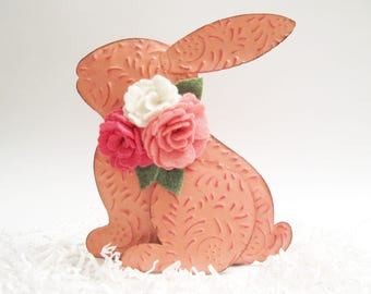Pink Tin Rabbit Pink Embossed Metal Easter Bunny With Felt Flowers Woodland Decor Nursery Decoration Spring Decoration Easter Decor 138