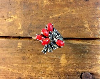 Vintage Coral & Marcasite Ring Sterling Silver 925 Size 6.5