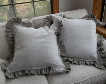 Pair Custom Ruffled Pillows Linen Pillow Shams Contrasting Ruffle Pillow Covers Decorative Washed Linen Pillow Covers French Country