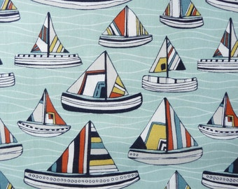 Nautical Fabric, Fabric Freedom FAFFF11-1 I Like Seaside Fabric, Sailing Fabric, Ocean Quilt Fabric, Boat Fabric, Cotton