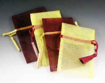 Cranberry and Yellow Organza Bags for Jewelry, set of 4, drawstring bag, organza jewelry bags, fabric bags, drawstring pouches, bag, pouch