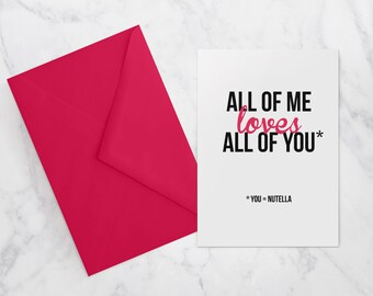 VALENTINES INSTANT DOWNLOAD | A6 greeting card | You = Nutella
