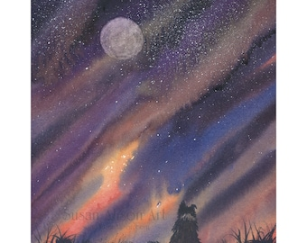 Border Collie dog 8x10 Susan Alison art print frm watercolor painting sheepdog talking to the man in the moon night sky communing landscape