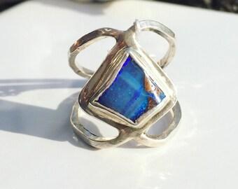 Boulder opal ring