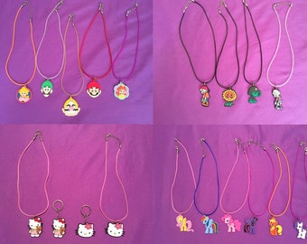 PVC Kids Necklaces or Keychains, Party Favors - MyLittle Pony, Hello Kitty, Super Mario, Plants vs. Zombies