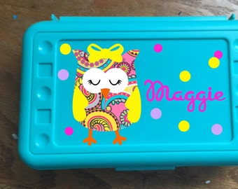 Back to School, Owl, Paisley Designed Personalized  Pencil Box, Pencil Case,