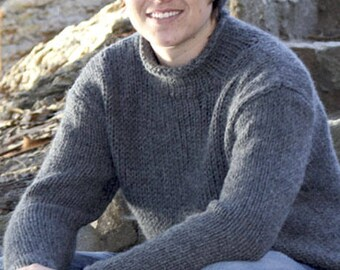 Man sweater, Chunky alpaca and wool sweater, knit for him , hand knit product made to order