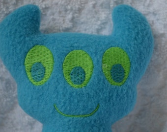 Handmade Stuffed Blue Horned Monster - Fleece, Child Friendly machine washable softie plush