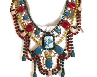 MARSALA BOUQUET teal, marsala, mustard, cream and brown hand painted rhinestone statement bib necklace