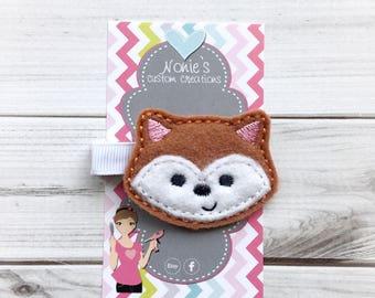Fox Hair Clip - Fox Hairclip - Fox Barrette - Fox Hair Pretty - Fox Feltie - Fox Felt Hair Clip