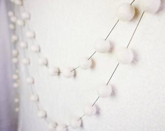 SALE Felt Ball Garland, White Felt Ball Garland,White Pom Pom Garland, White Garland, Christmas Tree Garland, Nursery Pom Pom Garland