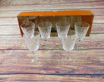 Chantilly Taile Beaugency Genuine Cut Lead Crystal Set of  6 Sherry Glasses Cordial Goblets Made In France