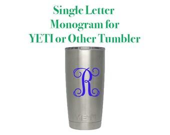 Vine Letter Monogram Decal - DIY Vinyl Decal - Letter Decal for Cups - Tumbler Decal - Vinyl Monogram Letter - Single Letter Monogram Decal