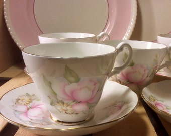 Pretty in Pink Royal Stuart Teacups and Saucers
