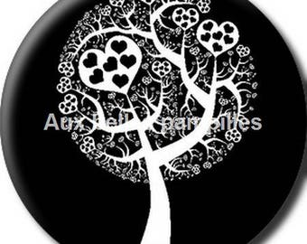 Round cabochon resin 25 mm - black and white tree stick (1255) - tree of life heart