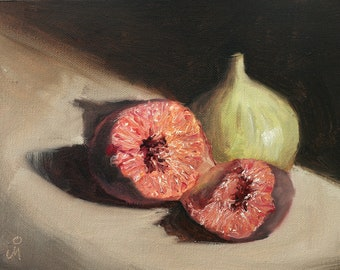"Two Figs, 6"" x 8"", Original Oil Painting on Canvas"