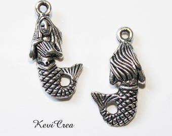 10 x charms silver metal Mermaid charms