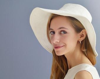Linen Hat/ Summer Hat/Eco Sun Hat/  Organic Hat/ Linen Head Cover/ Wide Brims Flax Hat/ Pure Linen White Hat/ Beach wear hat