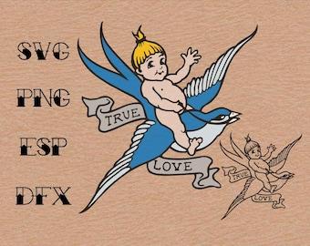Old school Tattoo  Swallow True love , Vector, SVG, Clipart ,Digital Download ,Circuit Cut ,Cutting