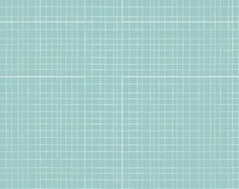Baby bed skirt, baby bedding, crib skirt, aqua (blue) grid