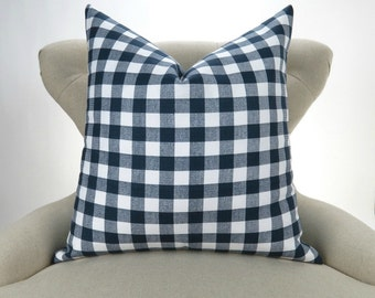 Navy Plaid Pillow Cover -MANY SIZES- Check Pattern, Gingham Print, Euro Sham, Lumbar, Decorative Throw, Navy Blue Buffalo Premier Prints