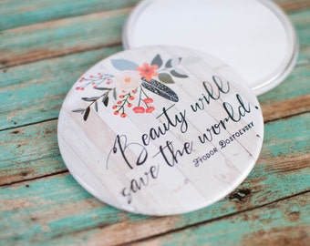 Beauty Will Save the World Literary Pocket Mirror, Dostoevsky Quote Compact Mirror, Catholic Gifts for Her, 602026