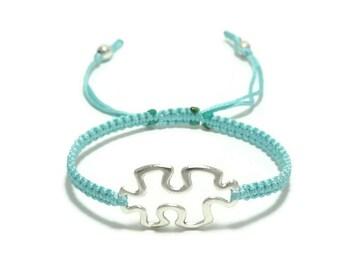Puzzle bracelet, Autism Bracelet, Jigsaw Puzzle Bracelet, Autism Awareness, Macrame Bracelet,  Autism Puzzle Bracelet, Autism Jewelry