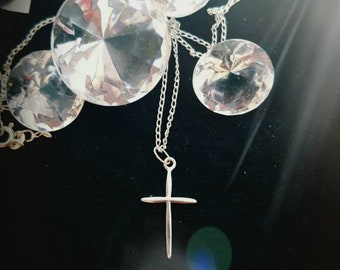 Long Silver Cross Necklace Women Silver Cross Pendant Charm Necklace Simple Necklace Cross Necklace for Girls Christian Necklace for Her