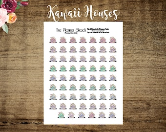 Kawaii Houses   Rent Due   Mortgage Due   Bill Due   Printable Planner Stickers   Planner Printables   Kawaii   Cut File