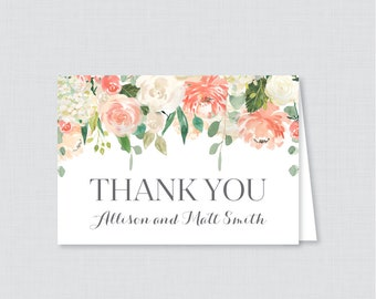 Printable OR Printed Wedding Thank You Cards - Peach and Cream Floral Thank You Cards Wedding - Peach Flower Personalized Thank You 0009