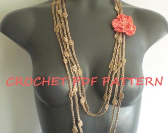 Crochet Flower Necklace Pattern. PDF 024.
