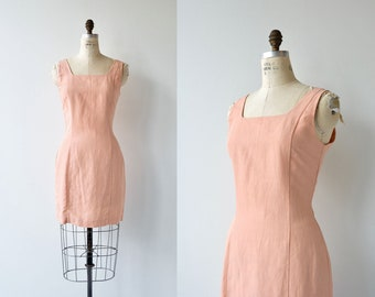 Petal Linen dress | vintage sleeveless shift dress | linen summer dress