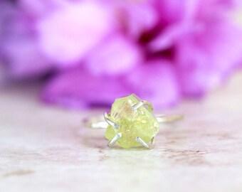 Peridot Ring, Raw Peridot Ring, Green Gemstone Ring