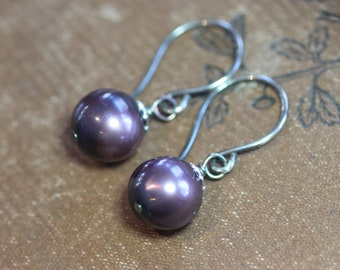 Midnight Blue Pearl Earrings Sterling Silver Pearl Dangle Earrings Genuine Real Freshwater Pearl Jewelry