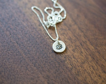 Cancer Necklace Zodiac Necklace - Gift for her June Birthday Gift Sterling Silver Cancer Pendant Tiny Cancer Small Cancer Simple Cancer