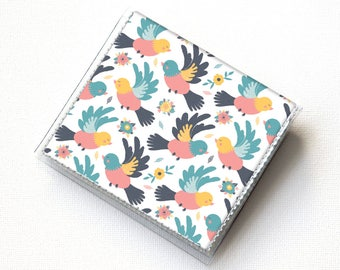 Vinyl-Moo-Platz-Kartenhalter - Spring Birds / Vogel Sommer Geldbörse, Vinyl, Snap, Mini-Karte Fall, Geldbörse, kleine, quadratische Karte, Geschenk,