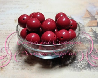 20mm Maroon Solid Acylic Beads Qty 10, Chunky Beads, Bubblegum Beads, Gumball Beads, Chunky Jewelry Beads, Acrylic Beads