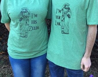 Custom Couples Link and Zelda t-shirts