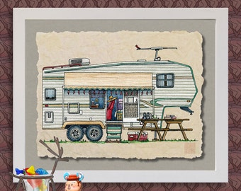 Whimsical 5TH Wheel Camper RV Print Happy Camper Affordable Art #411