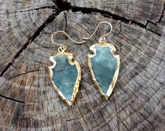 Bloodstone Arrowhead Earrings - Gold Edged Arrowheads - 14K Gold Fill Earrings - Natural Green Stone Arrowheads - Two Feathers Jewelry
